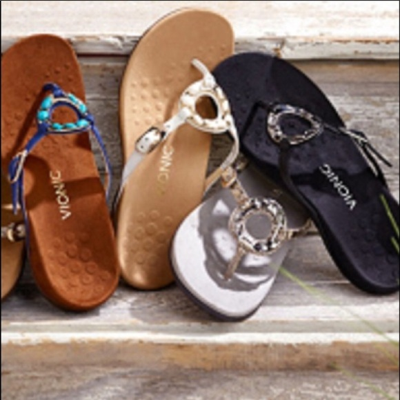 Womens Vionic Ricci Toe Post Orthotic Arch Support Flip Flops Sandals Silver